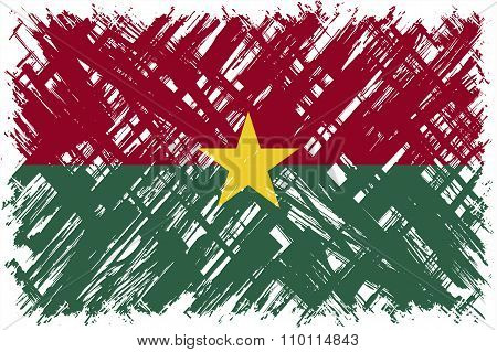 Burkina Faso grunge flag. Vector illustration.