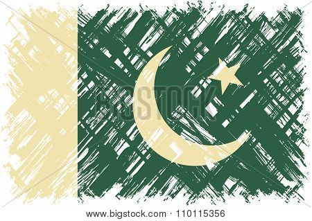 Pakistani grunge flag. Vector illustration.