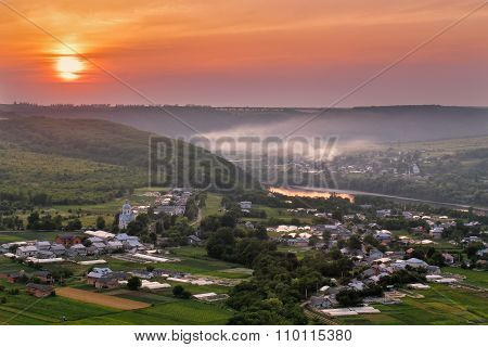 Sunset on the river Dniester