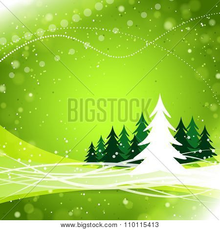 Green sparkling background with abstract Christmas tree and forest