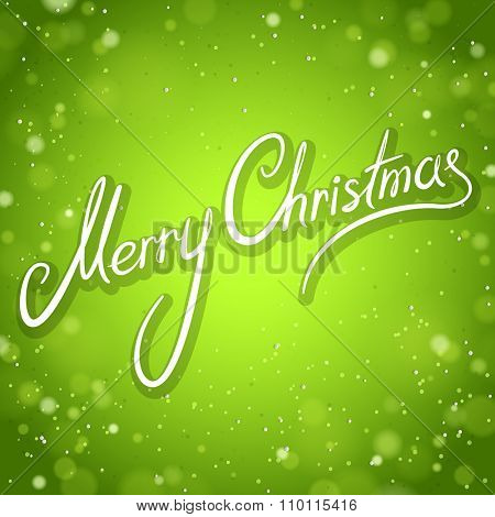 Green Merry Christmas Greeting Card with Brilliant Background