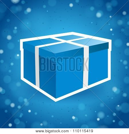 Blue Gift Box on a Sparkling Background