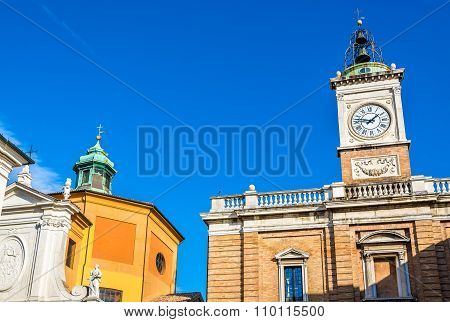 Clock Tower On Piazza Del Popolo - Ravenna