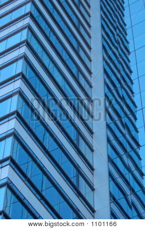 Office Building With Blue Windows