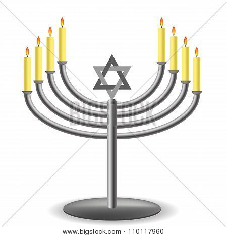 Menorah with Burninng Candles