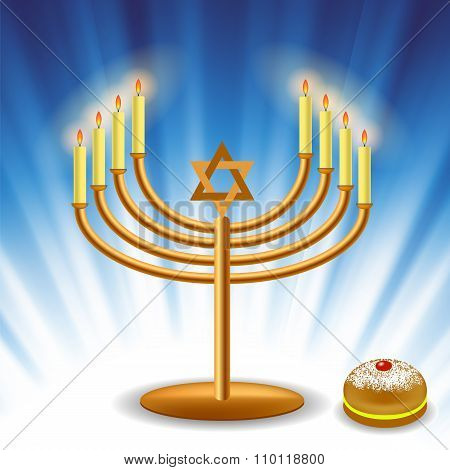 Menorah and Red Jelly Donat