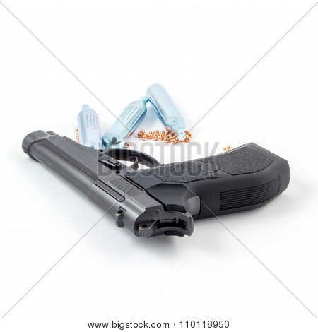 Black steel air pistol isolated on white
