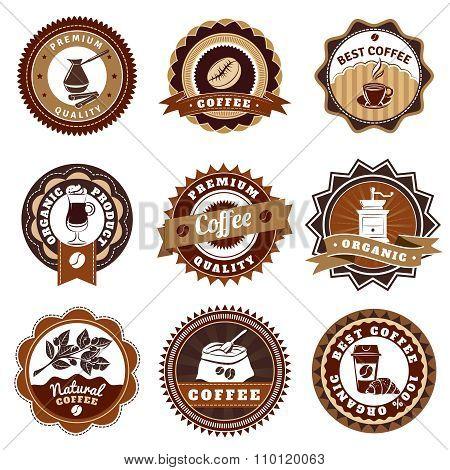 Coffe Emblems Labels Set Brown