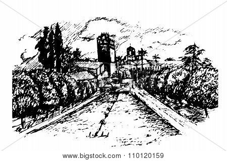drawing of the garden and Alcazar Alcazar in Cordoba, Andalucia hand drawn vector illustratio