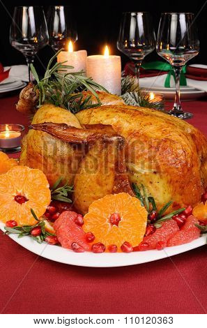 Baked Chicken At The Christmas Table