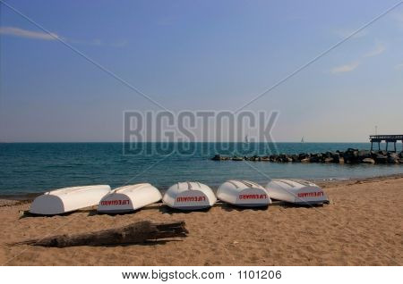 Lifeguard Boats On Beach