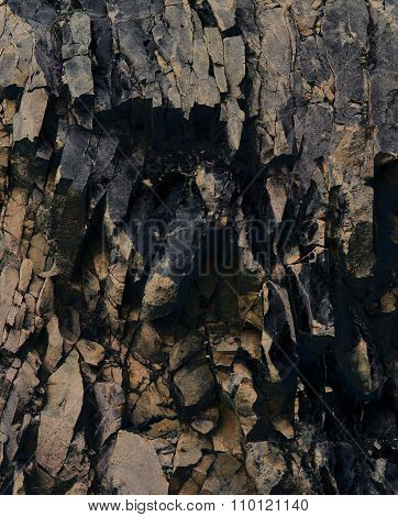 Abstract Rock / Stone / Mountain Background - Black , Gold