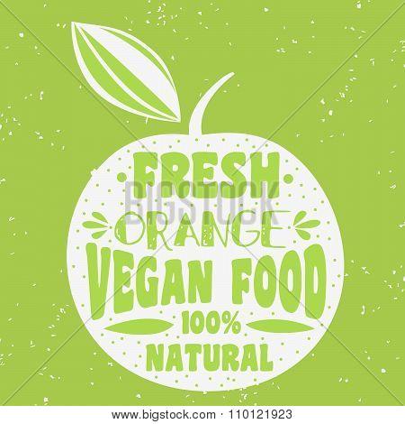 Vegan Typographic Print With Orange.
