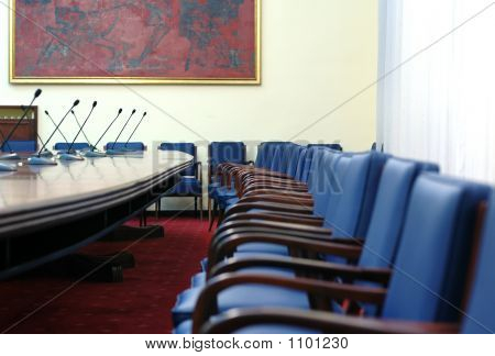 Microphones In Empty Conference Hall