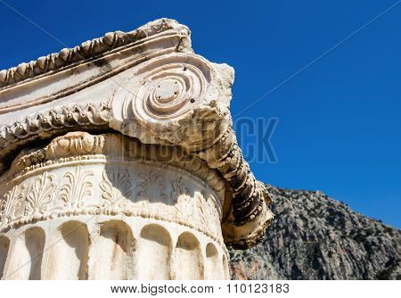 capital of Ionian order column in Ancient Delphi