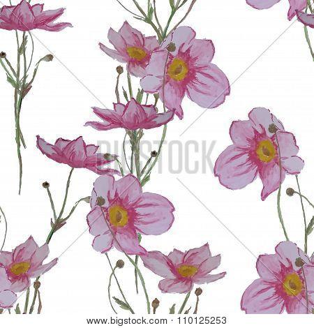 Watercolor wildflowers seamless pattern