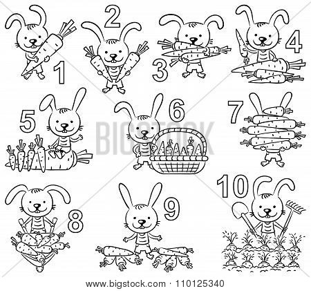 Numbers 1-10 In Cartoon Pictures Set, Rabbit And His Carrots