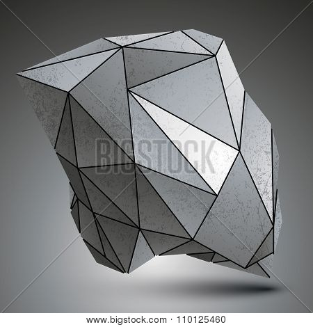 Deformed Sharp Metallic Stone Shaped Object Created From Geometric Figures. Contrast Futuristic
