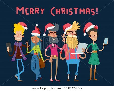 Business team people Christmas greeting card
