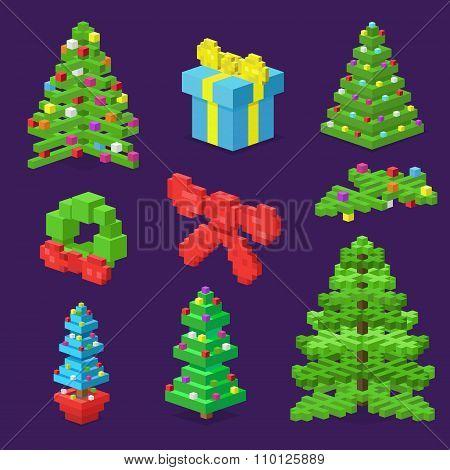 Christmas deoration symbold 3d isometric flat icons set