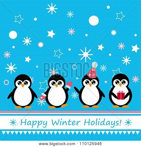 Greeting Card With Penguin
