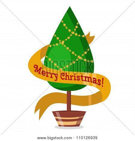 Christmas tree flat 3d isometric pixel art icon