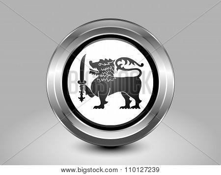 Flag Of Sri Lanka. Metal Round Icon