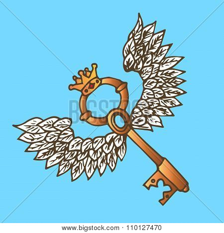 Illustration Of The Key With Wings. Golden Key With Flying Angel Wings And Crown. Vintage.