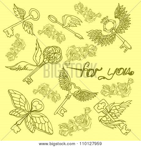 Illustration Of The Key With Wings. Flying Keys. The Pattern With Keys.