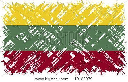 Lithuanian grunge flag. Vector illustration.