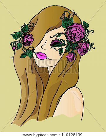 Illustration Of A Girl With Flowers In Her Hair, Hand Drawing