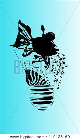Illustration Of Fish In Light Bulb