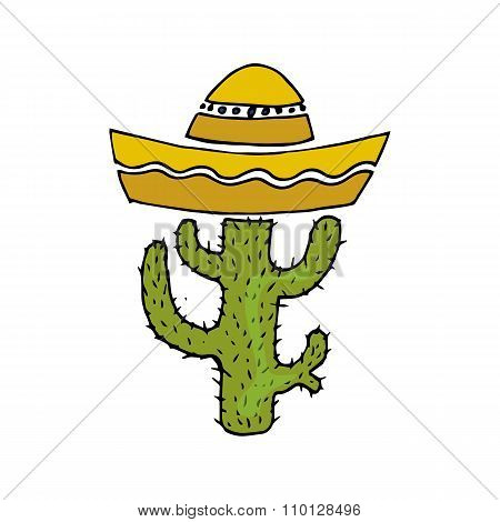 Illustration Of Mexico. Cactus In Sombrero. I Love Mexican.