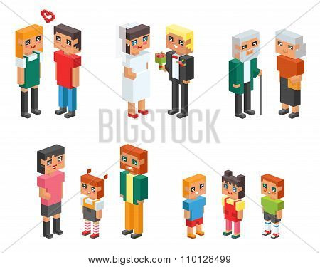 Isometric family couples children, kids people concept flat icons. Flirting, love, first date, weddi