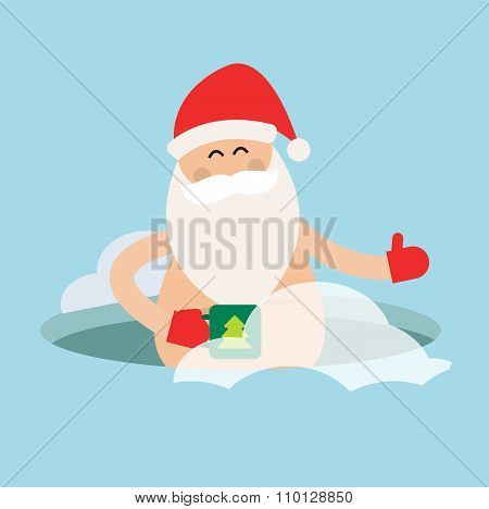 Cartoon extreme Santa ice-hole winter sport illustration