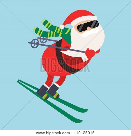 Cartoon Santa winter sport illustration