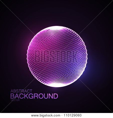3D illuminated sphere of glowing particles