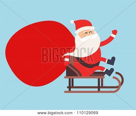 Cartoon Santa Claus gift sack delivery illustration