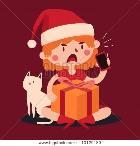 Christmas Girl Arguing At The Phone And Holding A Present Next To Her Pet Cat