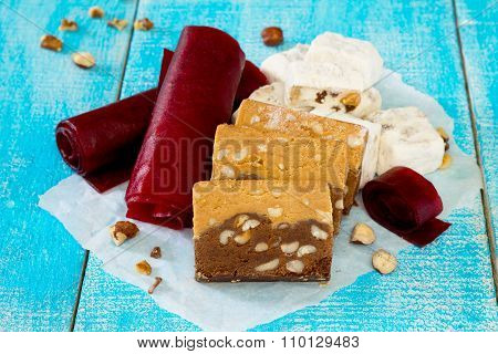 Traditional Oriental Sweets - Chocolate Sherbet, Candy And Cherry Nougat With Nuts