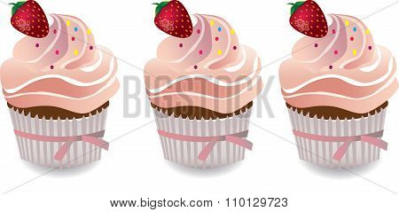 Cupcakes with strawberry and whipped cream