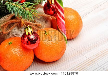 Tangerines, Christmas Baubles, Pinetree