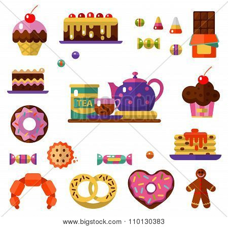 Dessert and Tea icons set