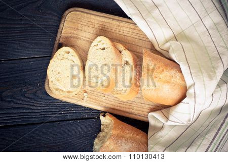French bread on the wooden table