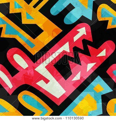 Graffiti Seamless Pattern With Grunge Effect.