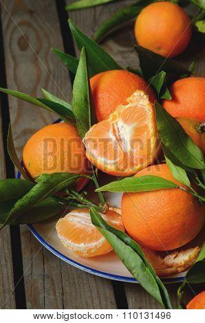 Fresh Mandarins With Leafs