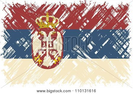 Serbian grunge flag. Vector illustration.