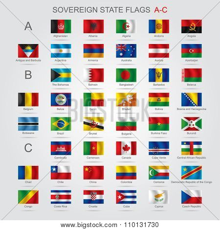 Set of world sovereign state and flags with captions in alphabet order.  Vector illustration