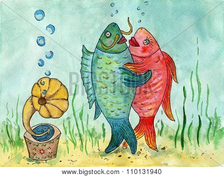 Two Fishes Dancing A Waltz. Funny Picture. Dance Lovers. Watercolor.