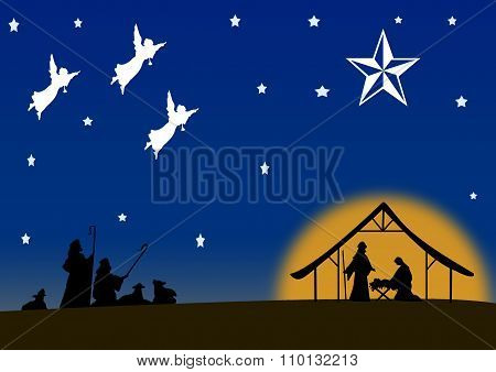 Manger Scene With Shepherds